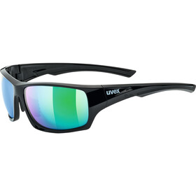 UVEX Sportstyle 222 Pola Sportsbriller, black green/mirror gree